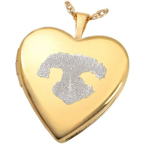 18K Gold Plated Pet Noseprint Heart Photo Locket with engraving