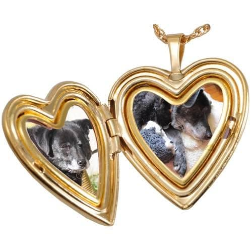 18K Gold Plated Pet Noseprint Heart Photo Locket with engraving, open