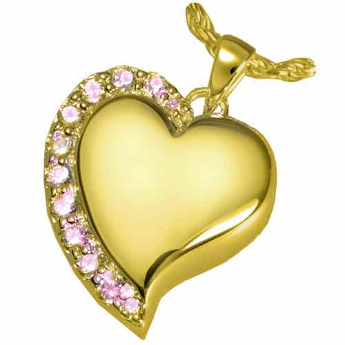 Shine Heart Cremation Pendant, 14K Gold Plated, Pink Stones