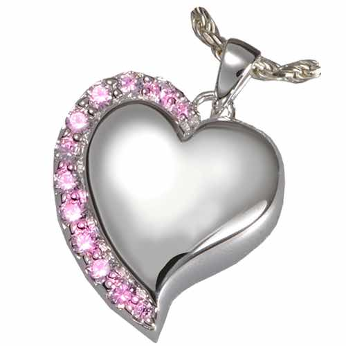 Shine Heart Cremation Pendant, Pink Stones, Sterling Silver