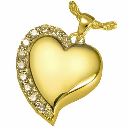 Shine Heart Cremation Pendant, 14K Gold Plated
