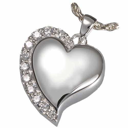 Shine Heart Cremation Pendant, Sterling Silver
