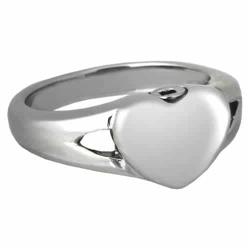 Stainless Steel Simple Heart Cremation Ring