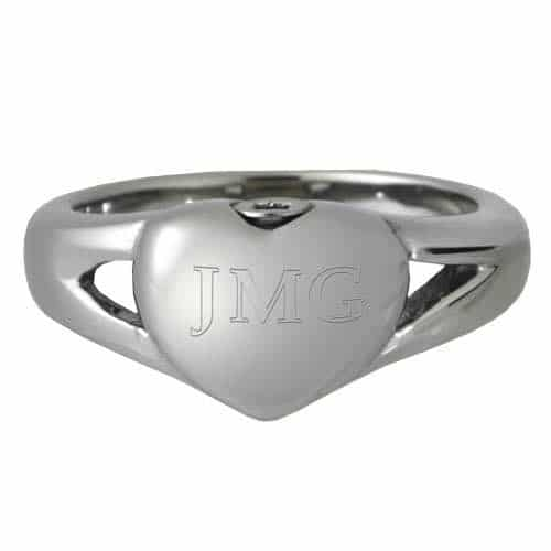 Stainless Steel Simple Heart Cremation Ring, engraved