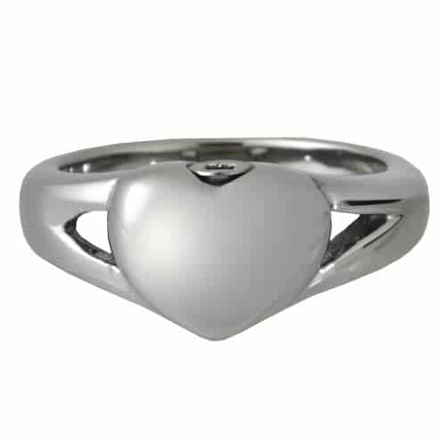 Stainless Steel Simple Heart Cremation Ring, front