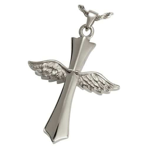 Winged Cross Cremation Pendant, Silver