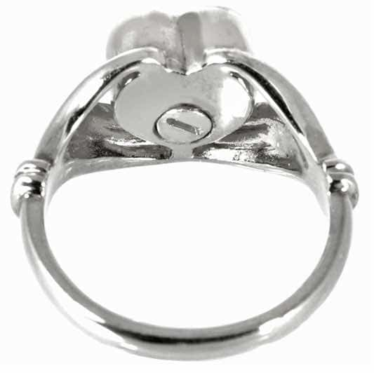 Sterling Silver Heart Cremation Ring, back