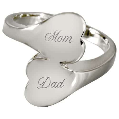 Sterling Silver Companion Heart Cremation Ring, engraved