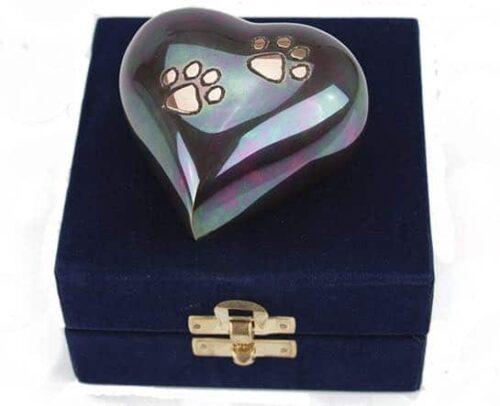 Teal/Raku Brass Keepsake Urn For Pet Ashes, Heart-shaped