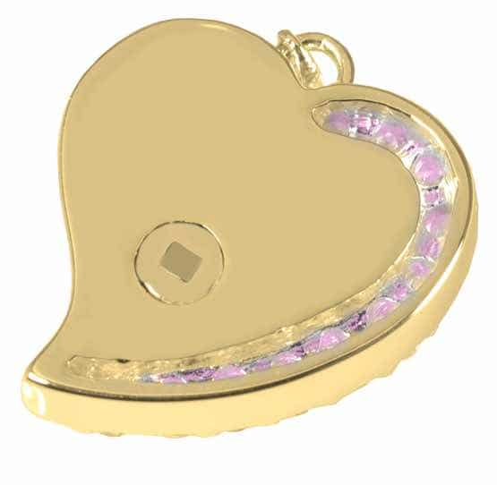 Shine Heart Cremation Pendant, Pink Stones, 14K Gold Plated, back