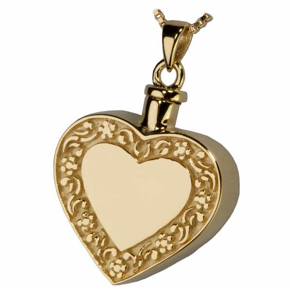 Rimmed Heart Cremation Jewelry Pendant, 18k Gold Plated