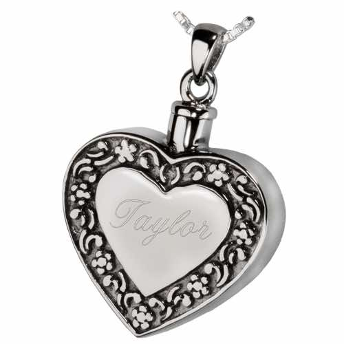 Rimmed Heart Cremation Jewelry Pendant, Sterling Silver, engraving
