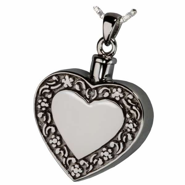Rimmed Heart Cremation Jewelry Pendant, Sterling Silver