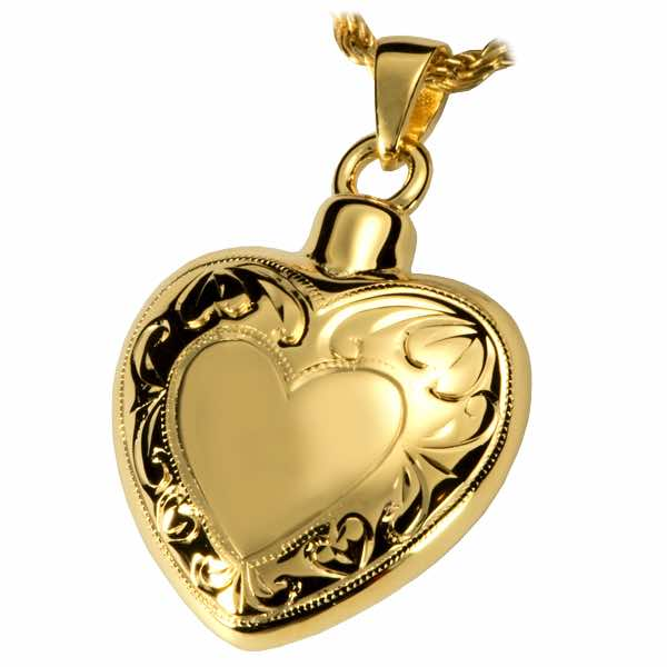 18k Gold Plate Double Etched Cremation Heart Pendant