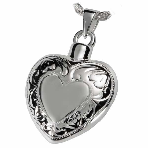 Sterling Silver Double Etched Cremation Heart Pendant