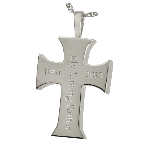 Men's Cross Cremation Pendant, showing engraving