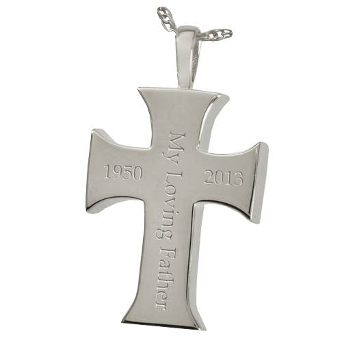 Sterling silver mens cross pendant for pet cremation ashes mens cross cremation pendant showing engraving mozeypictures Gallery