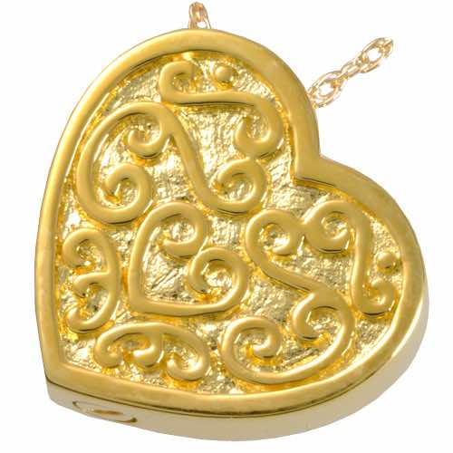 18k Gold Plated Ornate Heart Cremation Pendant