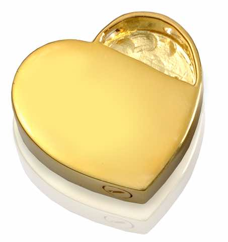18k Gold Plated Ornate Heart Cremation Pendant, rear