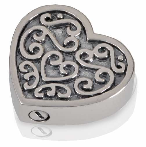 Sterling Silver Ornate Heart Cremation Pendant