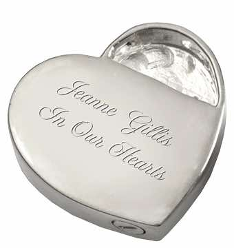 Sterling Silver Ornate Heart Cremation Pendant, rear, showing engraving