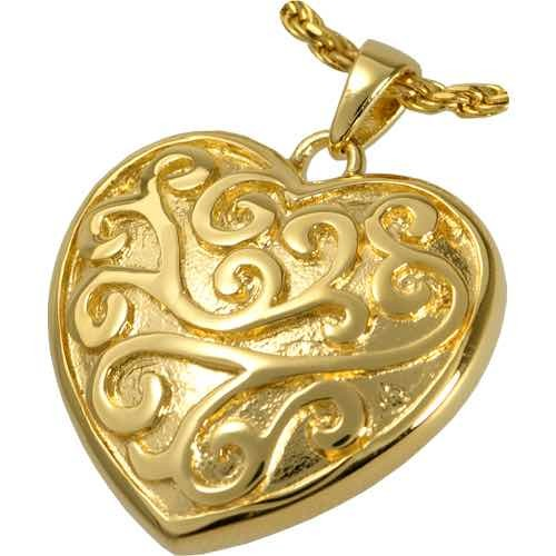 18k Gold Plated Filigree Heart Cremation Pendant
