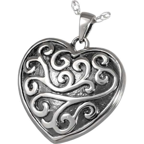 Sterling Silver Filigree Heart Cremation Pendant