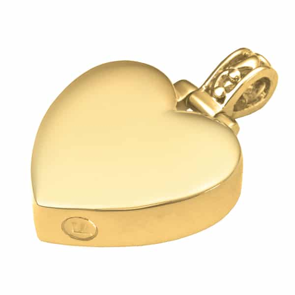 Filigree Bail Heart Cremation Pendant, 18k Gold Plated