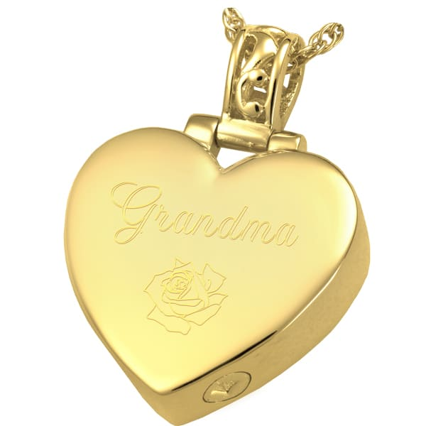 Filigree Bail Heart Cremation Pendant, 18k Gold Plated, engraved