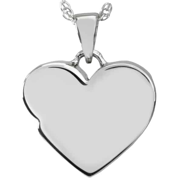 Sterling Silver Infinite Heart Cremation Pendant, back
