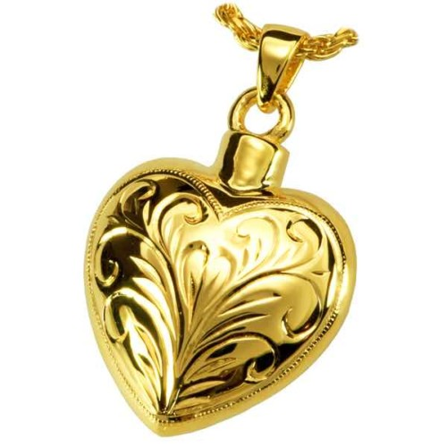 18k Gold Plated Sterling Silver Etched Heart Cremation Pendant