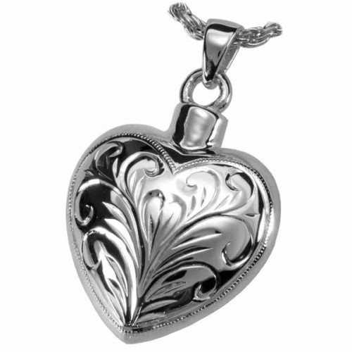 Sterling Silver Etched Heart Cremation Pendant