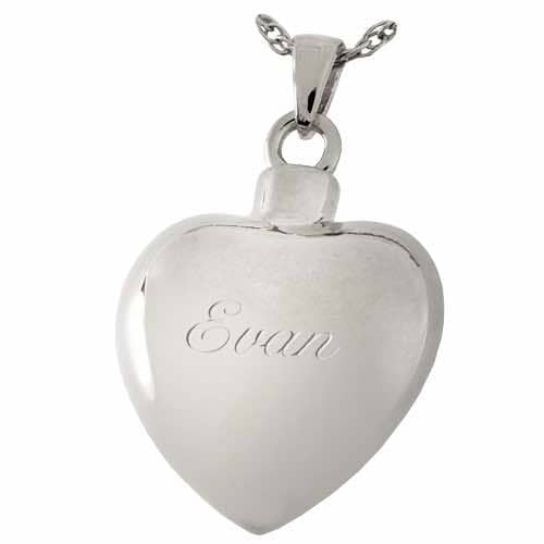 Sterling Silver Etched Heart Cremation Pendant, rear, engraved