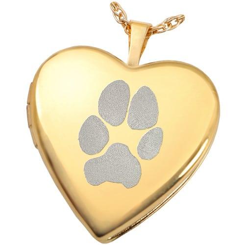 Pet Paw Print Pendant Photo Locket, 18k Gold Plated