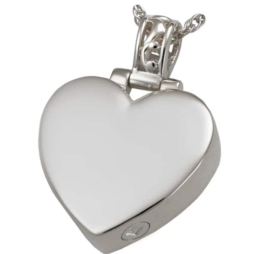 Filigree Bail Heart Cremation Pendant, Sterling Silver