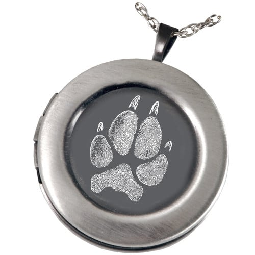 Pet Paw Print Pendant Photo Locket, Sterling Silver