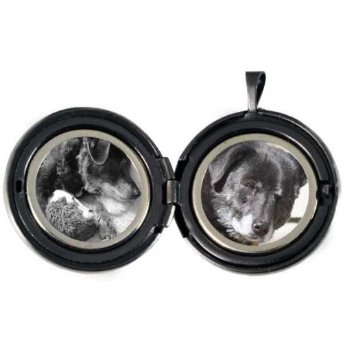 Pet Paw Print Pendant Photo Locket, Sterling Silver, open