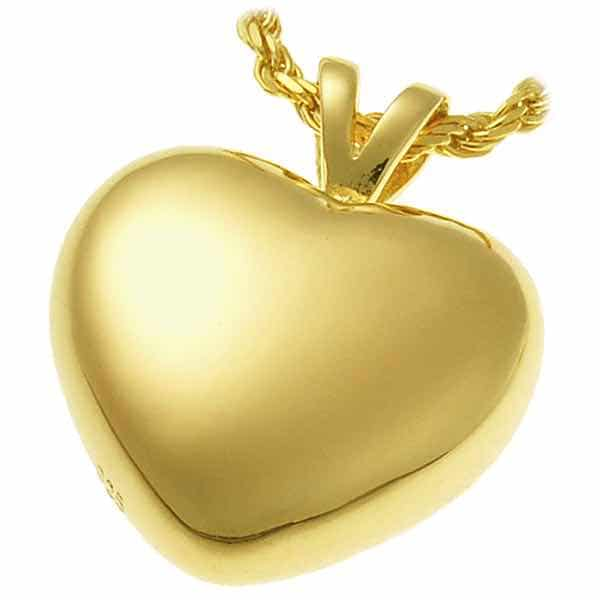 18k Gold Plated Strong Heart Cremation Pendant for Pet Ashes 3107