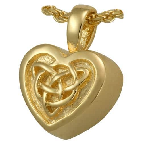 Celtic 18k Gold Plated Heart Cremation Pendant