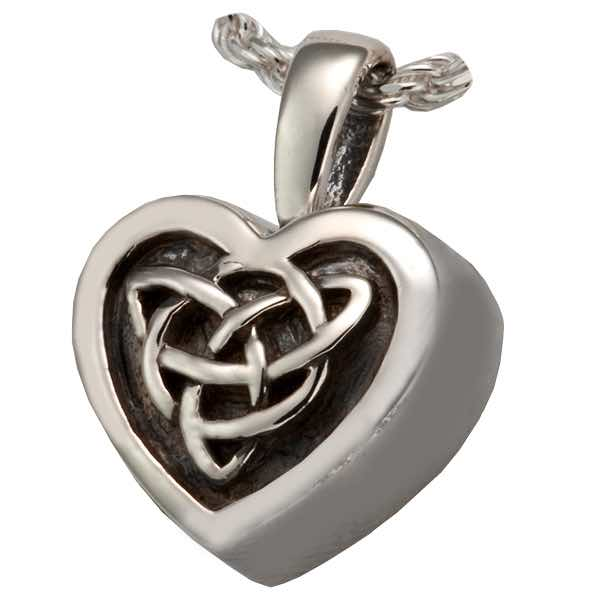 Sterling silver celtic heart pendant for pet cremation ashes sterling silver celtic heart cremation pendant aloadofball Images