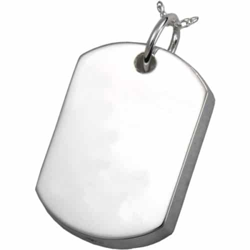 Sterling Silver Dog Tag Cremation Pendant