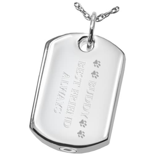 Sterling Silver Dog Tag Cremation Pendant, engraving