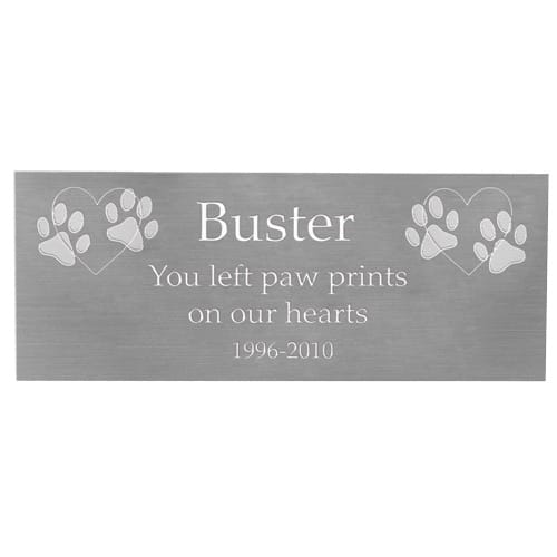 Large engraved name plate for urn with clip art, silver finish