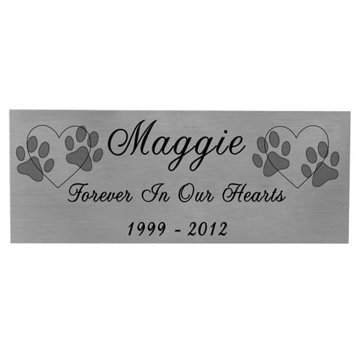 Small engraved silver finish name plate with black fill, with clip art