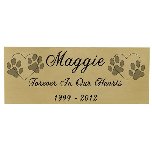 Small engraved name plate (black fill) with clip art