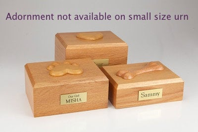 Genuine oak hardwood cremation urn for pet's ashes, with adornment