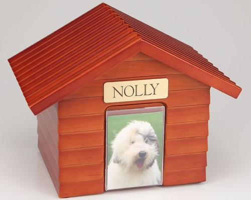 Cherry Wood Doghouse Urn with Photo Holder