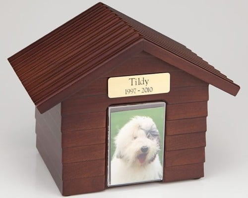 Walnut Wood Doghouse Urn with Photo Holder