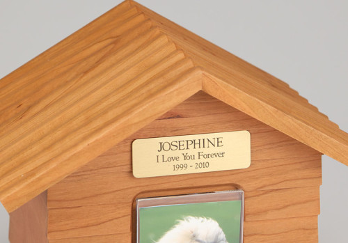 Oak Wood Doghouse Urn with Photo Holder