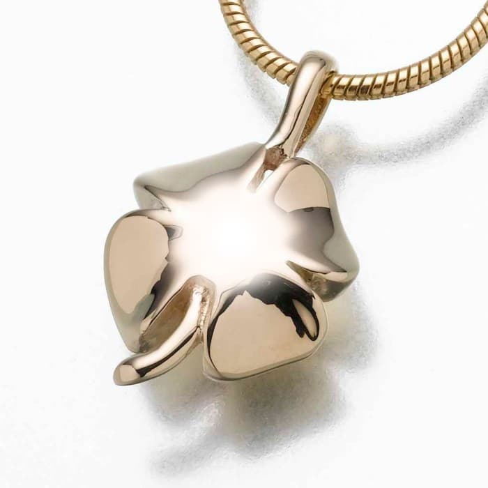 4 Leaf Clover Cremation Pendant, yellow gold 167YG